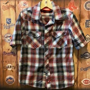 Vans button up snap front shirt boys M (8)